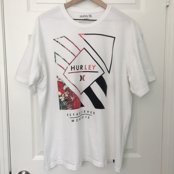 HURLEY DESIGN LOGO men black white t-shirt 100/% cotton graphic tee short sleeve